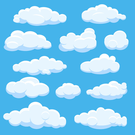 Cartoon vector clouds on blue sky Illustration