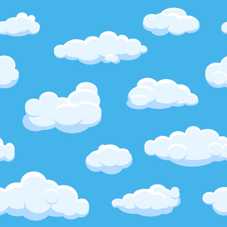 Cartoon clouds seamless vector background