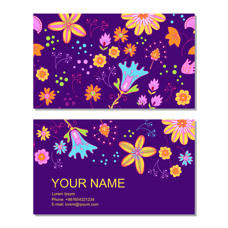 Business card template in cartoon style
