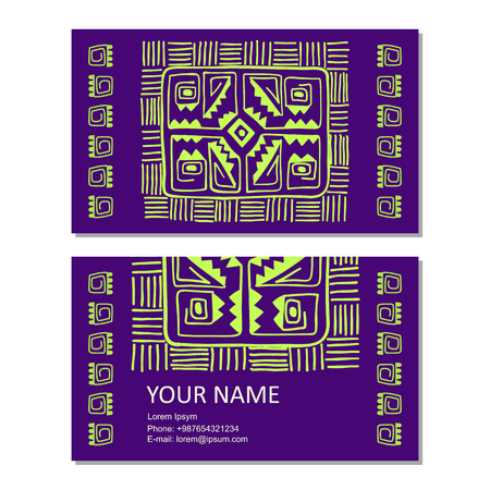 Business vector card template with Ancient Geometrics