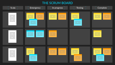 Vector scrum task board with sticky notes for agile software dev Ilustrace
