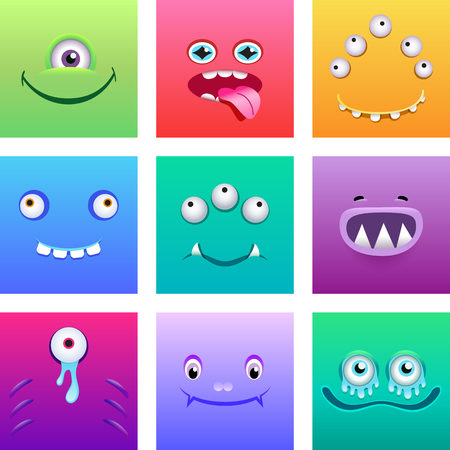 Cartoon monsters faces with emotions vector set Ilustrace