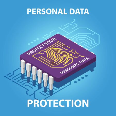 Protect your personal data vector isometric concept illustration Ilustrace