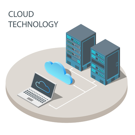 Cloud technology concept poster vector isometric illustration Ilustrace