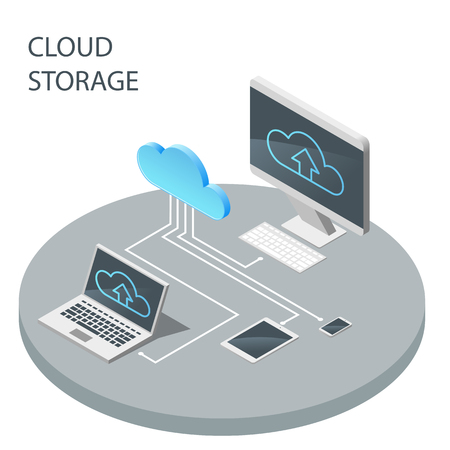 Cloud computing technology, cloud storage vector isometric illus Ilustrace