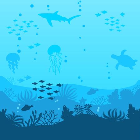 une belle scène sous-marine un paysage marin vectoriel avec un récif une silhouette de fond marin avec des algues, des algues et des coraux fond d'océan réaliste dessinés à la main