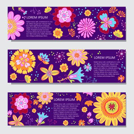 Floral horizontal banner vector templates in cartoon style Ilustrace
