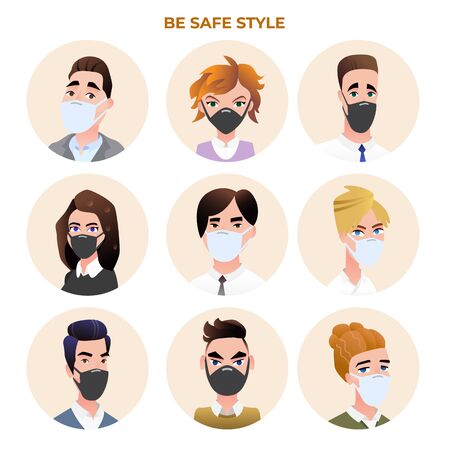 People avatars wearing medical masks vector set