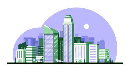 Urban landscape with high skyscrapers vector illustration Ilustrace