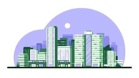 Urban modern landscape with high skyscrapers vector illustration Ilustrace