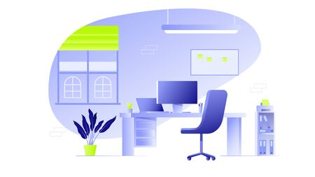 Office Interior Workplace Flat Vector Illustration