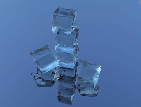 藍色背景上的冰塊