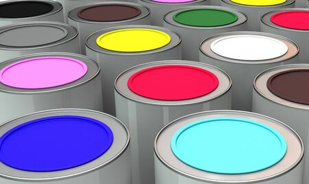 Jars with the paint of different colours Stock Photo