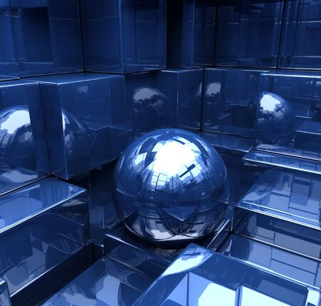 Reflection of the sphere in the mirror room 版權商用圖片
