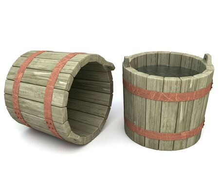 Old wooden buckets ,one filled with water on a white background