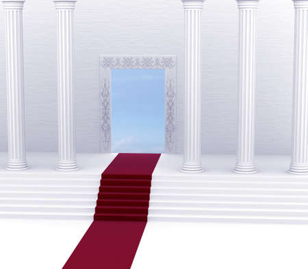Entry into heaven on the red carpet Stock Photo