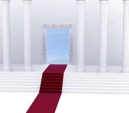Entry into heaven on the red carpet 版權商用圖片