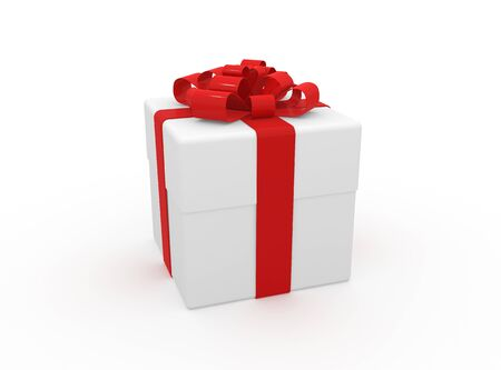 briliance: Gift in white packing with red tape Stock Photo