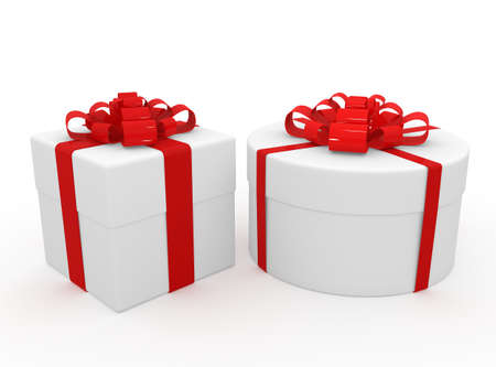 Gift in white packing with red tape Stock Photo