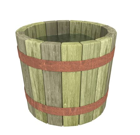 Wooden pail by pervaded water