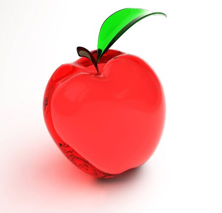 Red glass apple with slip