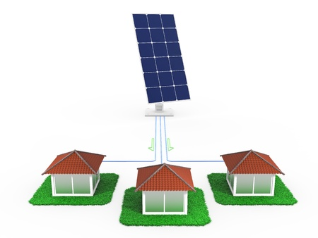 Supply of electricity from solar homes Stock Photo