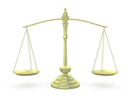 黃金在平等的位置秤 版權商用圖片