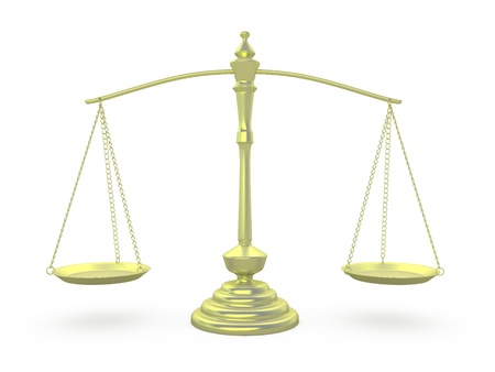 Scales of gold in a position of equality