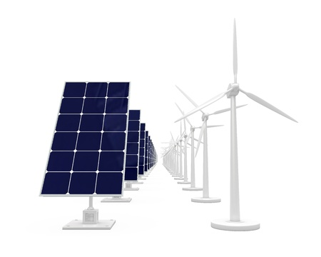 Wind and solar energy on a white background