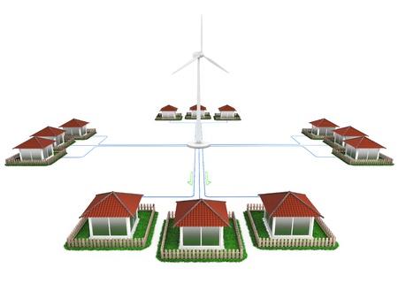 轉換風能轉化為電能 版權商用圖片