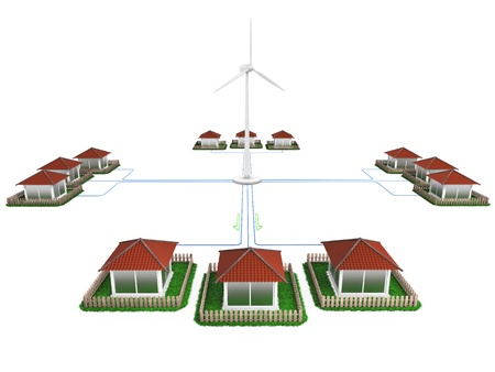 Conversion of wind energy into electricity Stock Photo