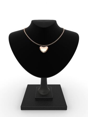 Golden pendant in the form of heart