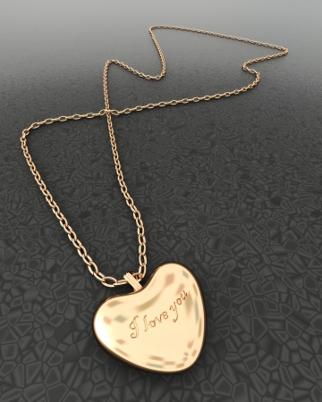 Gold heart pendant with chain photo