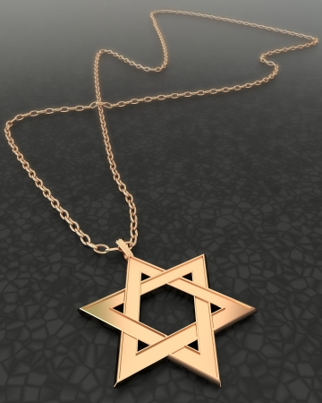 Golden star of David with a chain photo