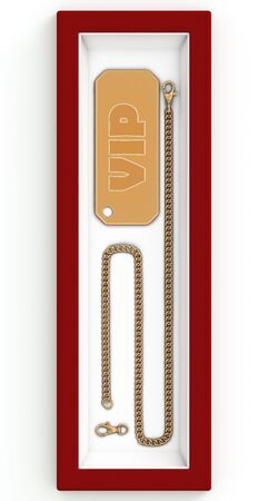 Golden badge  Vip  with a gold chain in the set