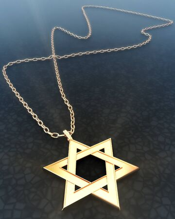 Golden star of David with a chain