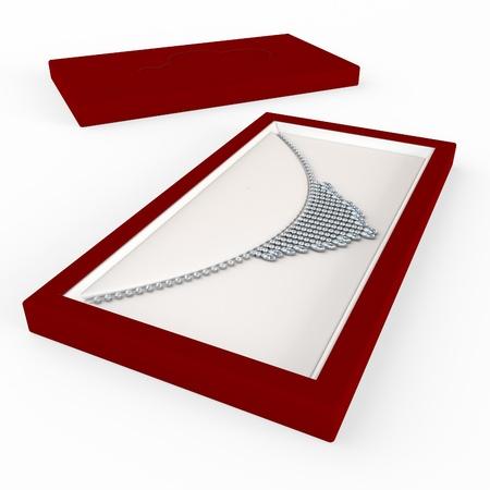Necklace of precious stones in the case 版權商用圖片