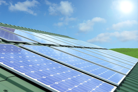solar panels on roof 版權商用圖片
