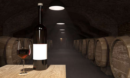 dark wine cellar with average spare of the product Stock Photo