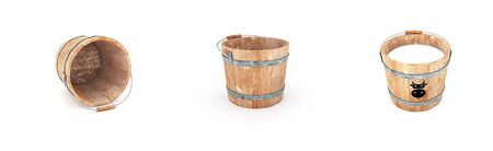 wooden capacity with milk and empty pail