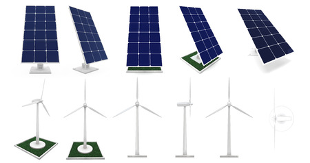 assembly illustration to subjects alternative types to energy: sun and winds Stock Photo