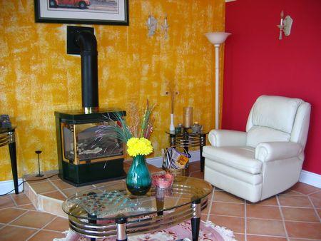 Salle de séjour avec cheminée  Banque d'images - 441796