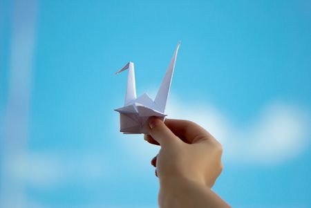 hand launch a paper Pigeon into the sky photo
