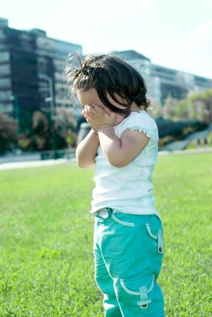 offended: offended little girl in the park