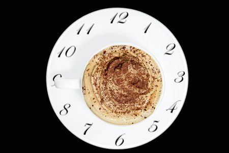 watches plate of cappuccino cup or coffee  photo