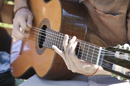 gitar: playing the gitar with detail on one hand