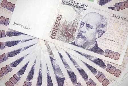 Background of Argentinean pesos of the hundred bills