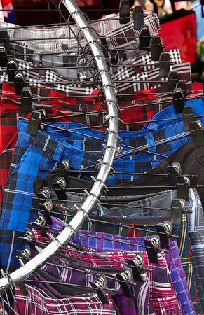 Scottish Kilts and skirt dress on Hanger in Store photo