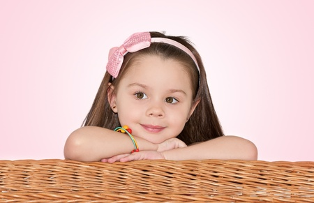 cute little girl looks in the direction