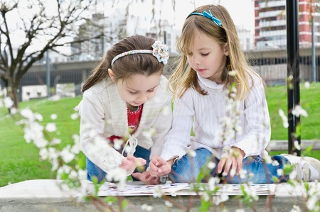 little girls reading a book in the park photo